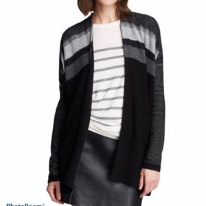 Vince Wool Cashmere Striped Cardigan Sweater